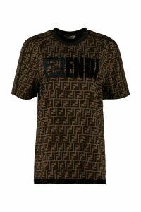 Fendi All-over Logo Print Cotton T-shirt