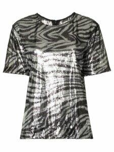 Halpern zebra stripe sequin embellished top - Metallic