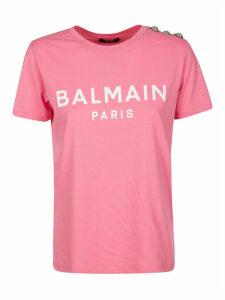 Balmain Logo Print Embellished Shoulder T-shirt