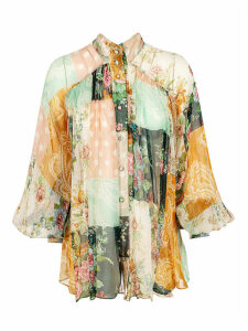 Zimmermann Floral Print Pleated Blouse