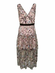 self-portrait Constellation Sleeveless Tiered Midi Dress