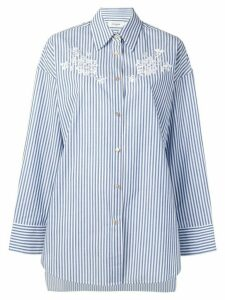 Coach oversized floral embroidery shirt - Blue