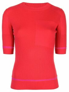 Proenza Schouler Ribbed Knit Short Sleeve crew neck Top - Red