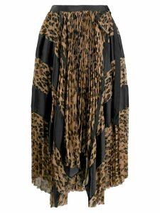 Sacai asymmetric printed midi skirt - Brown