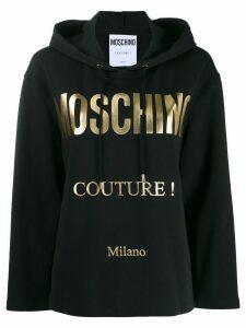 Moschino oversized logo print hoodie - Black