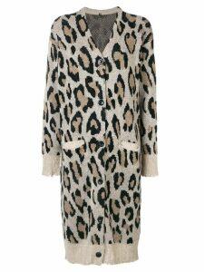 R13 cashmere long leopard cardigan - NEUTRALS