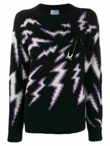 Prada intarsia safety pin jumper - Black