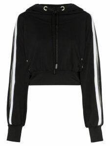 No Ka' Oi metallic stripe cropped hoodie - Black