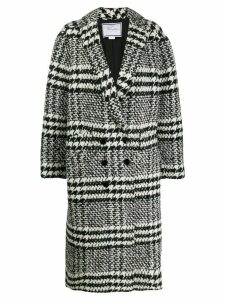 Redemption checked double-breasted coat - Black