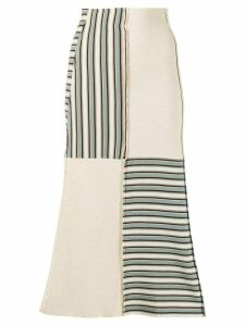 Jil Sander striped panel knitted skirt - NEUTRALS