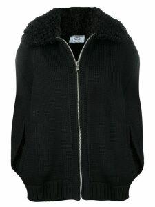 Prada shearling collar zipped cardigan - Black