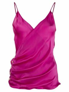 Balmain ruched v-neck top - PINK