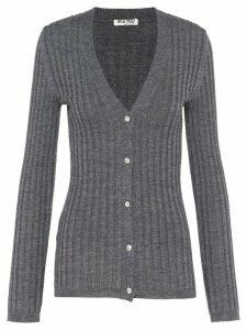 Miu Miu ribbed knit cardigan - Grey