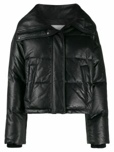 Yves Salomon Army leather puffer jacket - Black