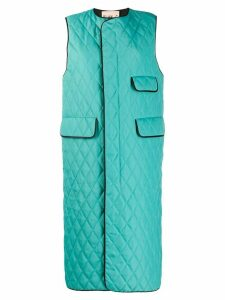 Plan C quilted long waistcoat - Green