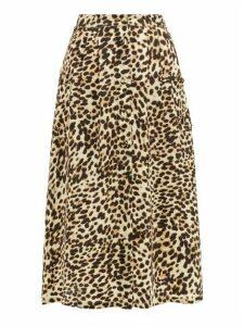 Arizona Love - Alix Leopard-print Satin Skirt - Womens - Leopard