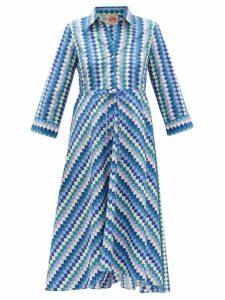 Le Sirenuse, Positano - Lucy Printed Cotton Shirt Dress - Womens - Blue Print