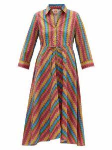 Le Sirenuse, Positano - Evelin Dr Psycho-print Cotton Shirt Dress - Womens - Yellow Multi