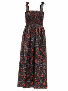Muzungu Sisters - May Halcyon-print Silk-faille Dress - Womens - Black Print