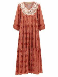 Muzungu Sisters - Floral-embroidered Silk Dress - Womens - Orange Print