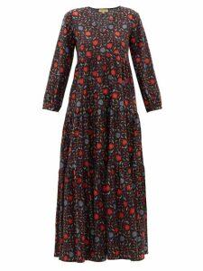 Muzungu Sisters - Floral-print Organic-cotton Dress - Womens - Black Print