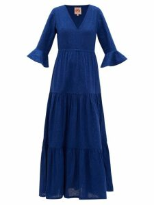 Le Sirenuse, Positano - Bella Broderie-anglaise Cotton Maxi Dress - Womens - Blue