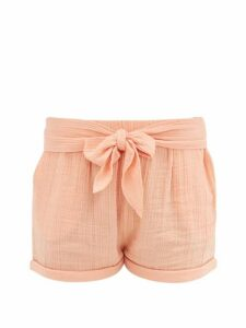 Anaak - Maithili Tie-front Cotton-muslin Shorts - Womens - Dark Pink
