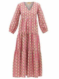 Muzungu Sisters - Floral-striped Linen Dress - Womens - Pink Print