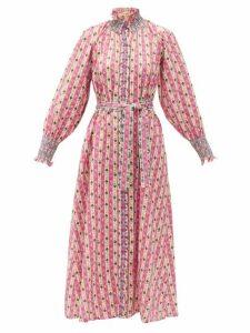 Muzungu Sisters - Alice Botanical-print Linen Midi Dress - Womens - Pink Print