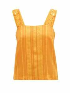 Zeus + Dione - Lora Embroidered-strap Silk-blend Jacquard Blouse - Womens - Orange
