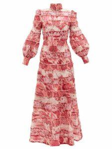 Zimmermann - Wavelength Tiered Linen-blend Maxi Dress - Womens - Pink Multi