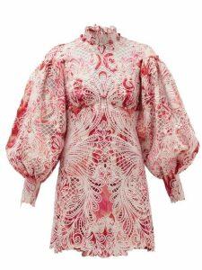 Zimmermann - Wavelength Ikat-print Lace Mini Dress - Womens - Pink Multi