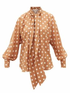 Zimmermann - Polka-dot Silk Crepe-de-chine Blouse - Womens - Brown Print