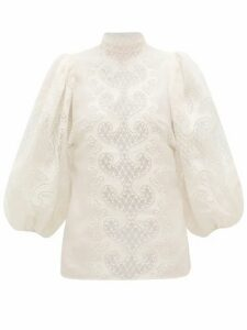 Zimmermann - Brightside Embroidered Linen Blouse - Womens - Ivory