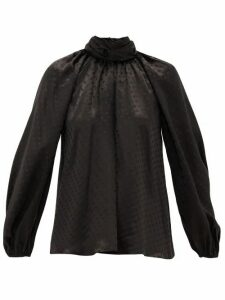 Zimmermann - Spot-jacquard Silk Blouse - Womens - Black