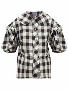 Thierry Colson - Vanina Ruffled Checked Cotton-blend Poplin Shirt - Womens - Black White