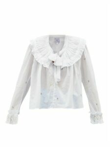 Thierry Colson - Dauphine Embroidered Cotton-voile Blouse - Womens - Light Blue