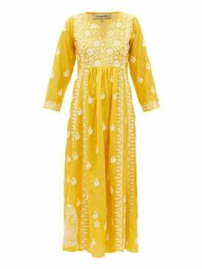 Muzungu Sisters - Floral-embroidered Silk Midi Dress - Womens - Yellow White