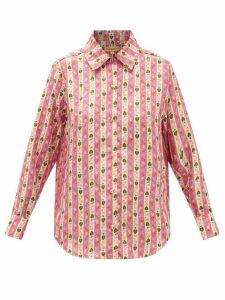 Muzungu Sisters - Fern Botanical-print Silk-faille Blouse - Womens - Pink Print