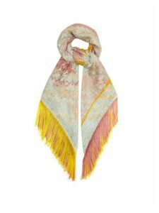 Missoni - Open-knit Tasselled Zigzag Shawl - Womens - Yellow Multi
