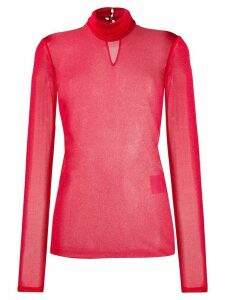 Styland shimmer turtle neck top - Red