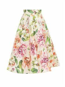 Dolce & Gabbana - Poppy And Peony-print Mikado-silk Midi Skirt - Womens - Pink Print