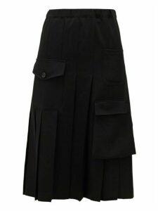 Comme Des Garçons Comme Des Garçons - Cargo-pocket Wool Pleated Skirt - Womens - Black