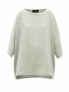Eskandar - Boat-neck Linen-blend Top - Womens - Light Grey