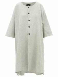 Eskandar - Round-neck Slubbed Linen-blend Coat - Womens - Light Grey