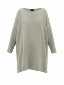 Eskandar - Moss-stitched Longline Cotton Sweater - Womens - Grey