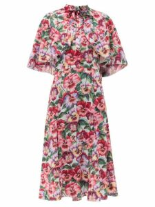 Dolce & Gabbana - Violet-print Cape-shoulder Silk-blend Dress - Womens - Purple Print