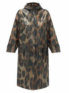 Ganni - Leopard-print Pvc Raincoat - Womens - Leopard