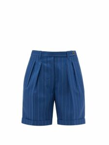 Giuliva Heritage Collection - The Husband Pleated Pinstriped Wool Shorts - Womens - Blue Stripe