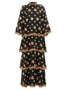 Andrew Gn - Tiered Floral-embroidered Silk-blend Crepe Dress - Womens - Black